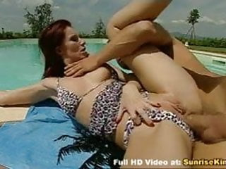 Skinny redhead anal sex by the pool