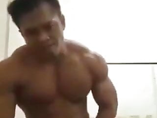 asian beefy muscle with big dick head cums for cam (20'')