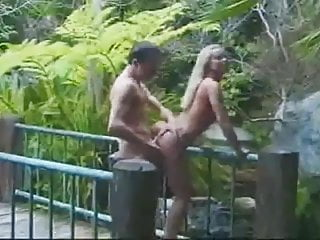 Silvia Saint next to the Waterfall