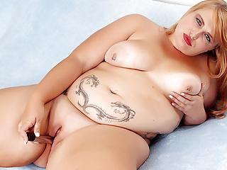 Fat blonde tiffany star satisfies both holes using...