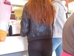 Teen in black leggins