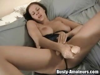 Solo busty Gianna is using a huge toy