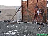 Military whiteboy barebacked outdoors w BBC