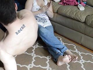 TSM - Lola gives a lotioned foot smelling handjob
