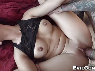With young babe taking fat cocks inside...