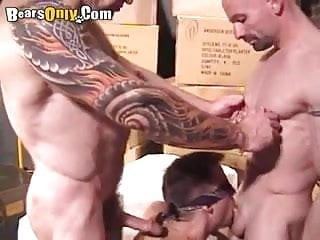 Muscular and tattooed fiery threesome...