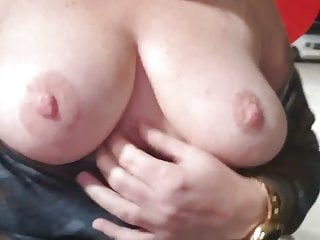Horny wife shows her tits in public