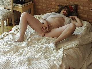 Housewife Sveta. Lady in white.  Playing  with small cock-01