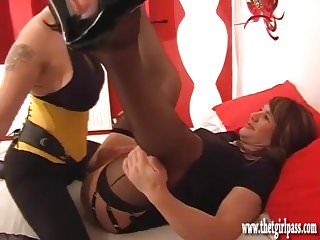 Femdom wanks TGirls big cock as she fucks her tight sexy ass