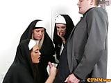 Nuns Tiffany and Emma in rough cock tug