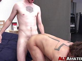 Tattooed jocks fucking bareback after a passionate blowjob