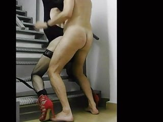 Boss fucks his cd slave on the stairs...