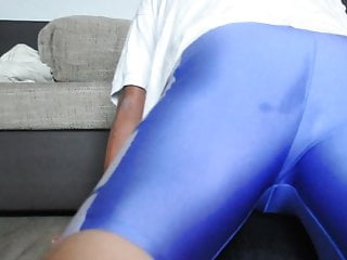Grater me a shiny spandex cycling shorts with...