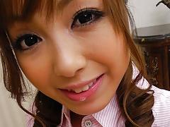 Japanese sweety, Anri Hoshizaki is giving a great blowjob, u