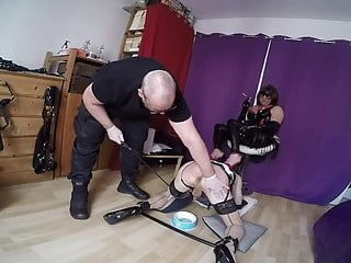 Ass training for a tied shemale slut