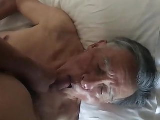 Nice Chinese grandpa sucking dick & eating cum
