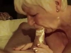 Over 70yo granny shows some blowjob skills