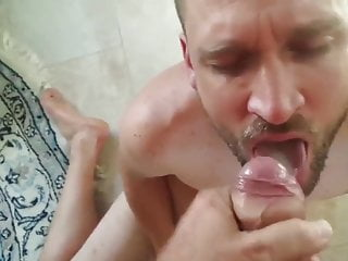 Daddy sucked while watching porn