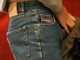 My boyfriend having fun in my mother's jeans