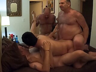 Br33dMeLA takes all loads in 5-way bareback daddy orgy, pt 1