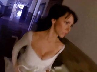Hewitt massive cleavage in white dress...