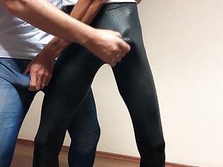 Azeri men in leggings grope touch bulges. azerilasin baku