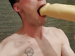 Cameron sucks huge dildo