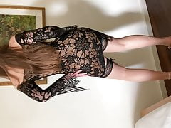 Nylon legs and feet tease, sexy dancing in mules and anklet