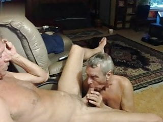Mature mustache daddy enjoying a blowjob by his...