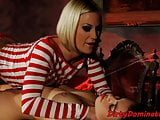 Lezdom babe fucking submissive with strapon