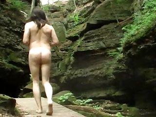 Rainy day nude rock climbing with...