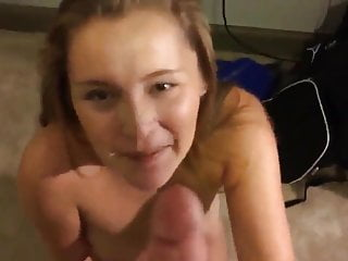Her first cum swallowing