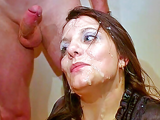 Repeated cumshots over a british milfs face and...