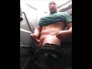 Uncut Muscle Ginger Thor Pisses and Strokes in Portajohn