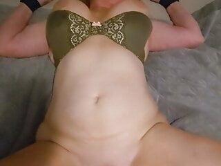 Tied up blonde milf cums hard