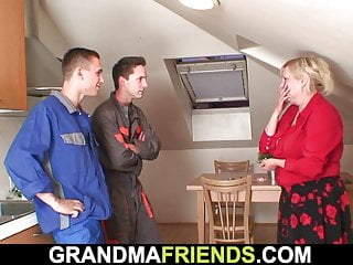 Very old busty granny pleases two men