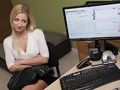 VIP4K. Teen girl undresses in loan office