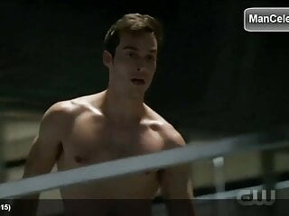 Celebrity Chris Wood completely smooth chest and ripped abs