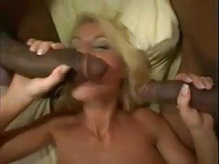The Swinger Experience Presents Blonde BBC slut services three big black cocks