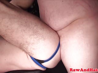 Throated Chubby pub ass jizzed after bareback