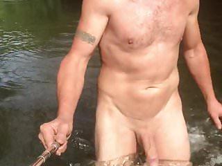 Nudist skinny dipping in river...