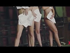 Russian pop goddesses strip from stunning lingerie together