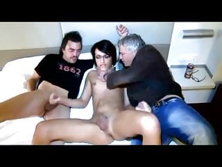 Young shemale fucked by two older guys...