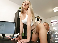 LOAN4K. Blonde girl's agreement with the bank leads to intense sex