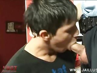 Horny old cop bullies a lad into a...