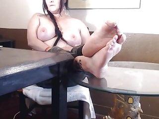 Topless wrinkled soles mature milf feet...