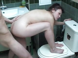 Black Haired Mature Fucking in The Bathroom