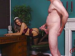 Ruby May strips while guy masturbates