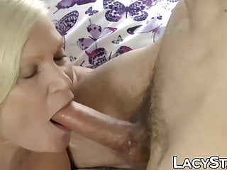 slobbers takes anally it stiff on UK lady dick Mature and