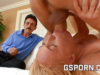 Hot natural blonde for her cuckold...